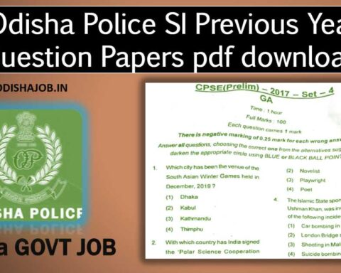 Odisha Police SI Previous Year Question Papers pdf